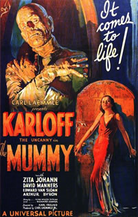 This 1932 movie poster for the cinema film The Mummy sold at sotherby's auction in 1997 for $453,500 and is one of the most highly valued movie posters of all time.The film was produced by Universal Pictures and cost $196,000 its release date was December 22, 1932. The poster design is typical of the artist Karoly Grosz who designed many of Universal's horror movie posters, including Dracula 1931 and Frankenstein 1931.